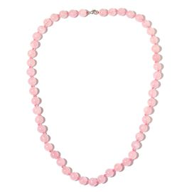 One Time Deal-Brazilian Rose Quartz Ball Necklace (Size 30) in Rhodium Plated Sterling Silver 600.000 Ct.