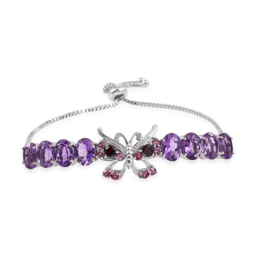 GP Amethyst (Ovl), Kanchanaburi Blue Sapphire, Mozambique and Rhodolite Garnet Butterfly Adjustable Bracelet (Size 6 to 9 Inch) in Platinum Overlay Sterling Silver 14.000 Ct.