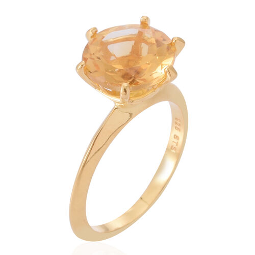 AA Brazilian Citrine (Rnd) Solitaire Ring in 14K Gold Overlay Sterling Silver 3.500 Ct.