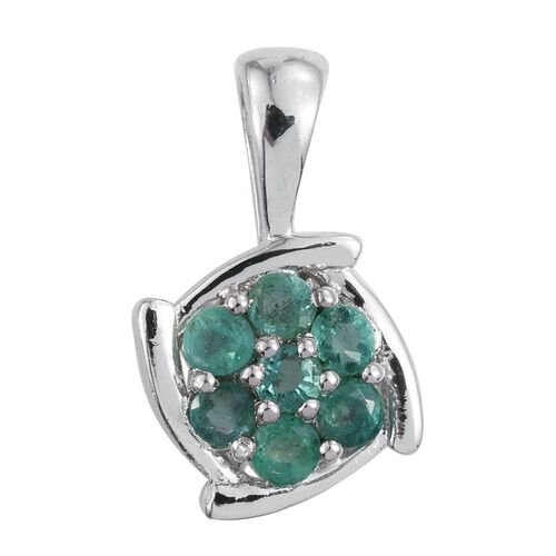 Brazilian Emerald (Rnd) 7 Stone Floral Pendant in Platinum Overlay Sterling Silver 0.500 Ct.