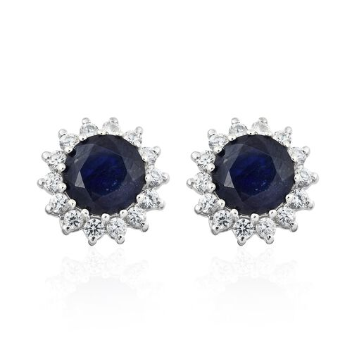 Masoala Sapphire (Rnd), Natural Cambodian Zircon Stud Earrings (with Push Back) in Platinum Overlay Sterling Silver 7.250 Ct.