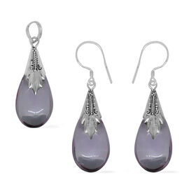 Royal Bali Collection Simulated Pink Sapphire (Pear) Pendant and Hook Earrings in Sterling Silver