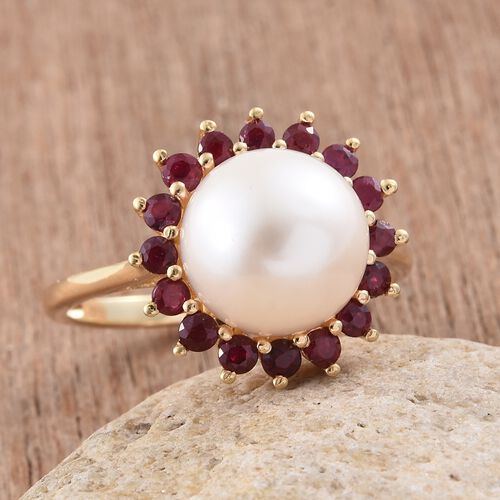 White Pearl and African Ruby Flower Ring in 14K Gold Overlay Sterling Silver