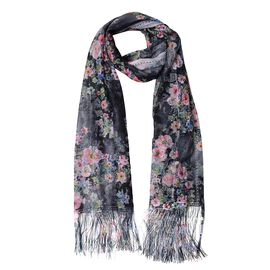 Italian Designer Inspired - Black, Pink and Multi Colour Flower Pattern Scarf with Tassels (Size 160x68 Cm)