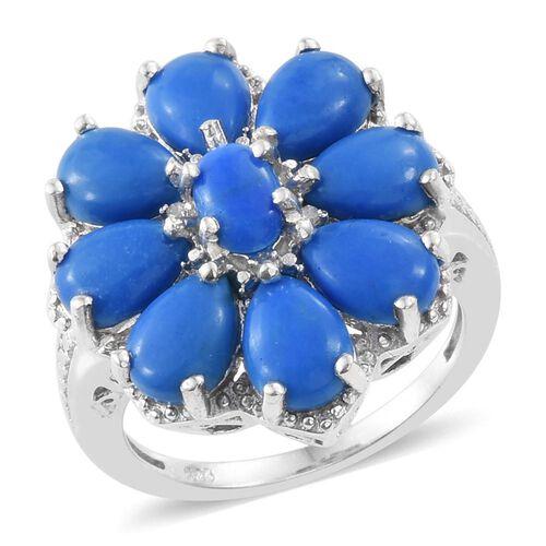 Ceruleite (Ovl), Diamond Flower Ring in Platinum Overlay Sterling Silver 5.500 Ct.