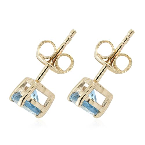 Limited Available-9K Yellow Gold AA Santa Maria Aquamarine (Hrt) Stud Earrings (with Push Back) 0.750 Ct.
