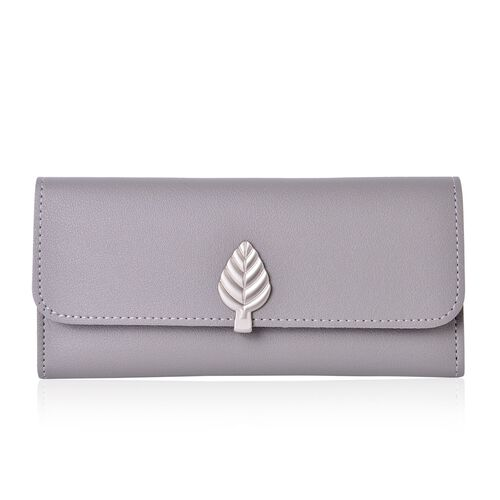 Grey Colour Purse with Multiple Card Slots and Metallic Leaf at Front (Size 19X10X1 Cm)
