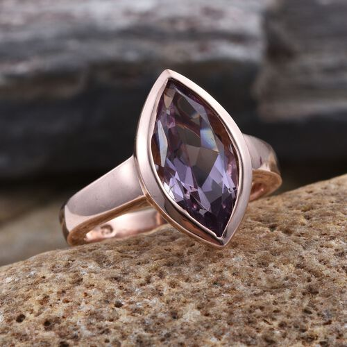 Rose De France Amethyst (Mrq) Solitaire Ring in Rose Gold Overlay Sterling Silver 3.750 Ct.