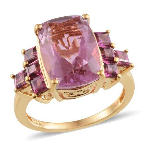 Kunzite Colour Quartz (Cush 7.75 Ct), Rhodolite Garnet Ring in 14K Gold Overlay Sterling Silver 9.500 Ct.