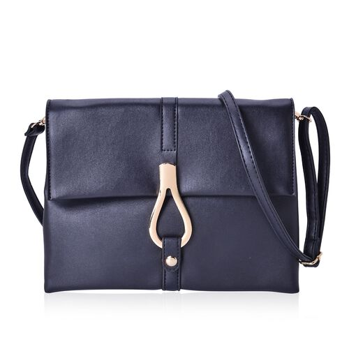 Black Colour Middle Size Crossbody Bag with Adjustable and Removable Shoulder Strap (Size 27x20x7 Cm)