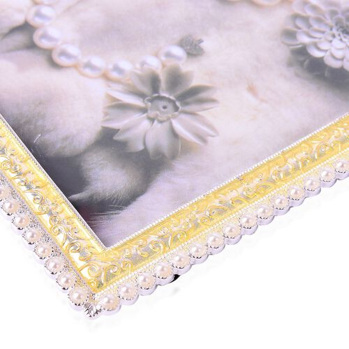 Crystal and Simulated Pearl Studded Rectangular Shape Photo Frame in Gold Tone (Size 18x12 Cm)