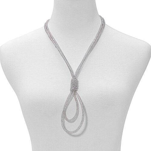 AAA White Austrian Crystal Necklace (Size 24 with 3 inch Extender) in Silver Tone