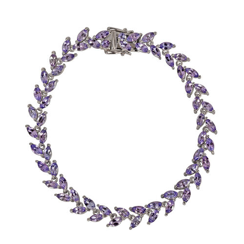 AA Tanzanite (Mrq) Bracelet (Size 7) in Platinum Overlay Sterling Silver 8.250 Ct.