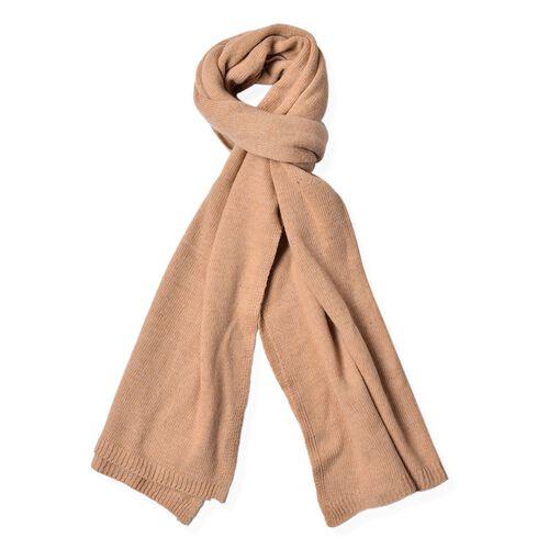 Italian Designer Inspired Merino Wool Blend (50% Merino Wool) Beige Colour Scarf (Size 200x55 Cm)