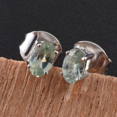 9K White Gold 0.50 Carat AA Narsipatnam Alexandrite Solitaire Stud Earrings (with Push Back)