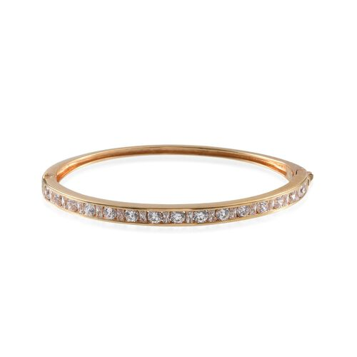 J Francis - 14K Gold Overlay Sterling Silver (Rnd) Bangle (Size 7.5) Made with SWAROVSKI ZIRCONIA