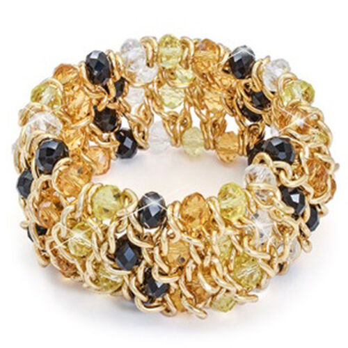 Woven Curb Chain Beads Stretchable Bracelet in Gold Tone