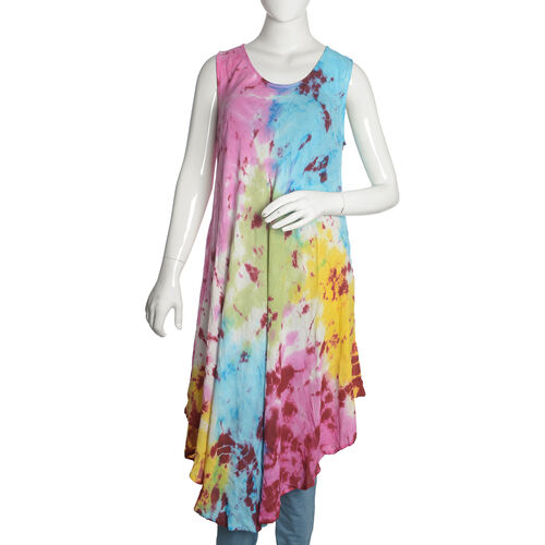 Yellow, Fuchsia and Multi Colour Printed Tunic (Free Size)