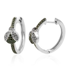 GP Black, Green and White Diamond (Rnd), Kanchanaburi Blue Sapphire Ladybird Hoop Earrings (with Clasp Lock) in Platinum Overlay Sterling Silver 0.520 Ct. Silver wt 5.97 Gms.