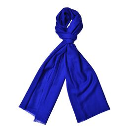 Super Soft-100% Wool Ibiza Blue Colour Scarf with Fringes (Size 190X70 Cm)