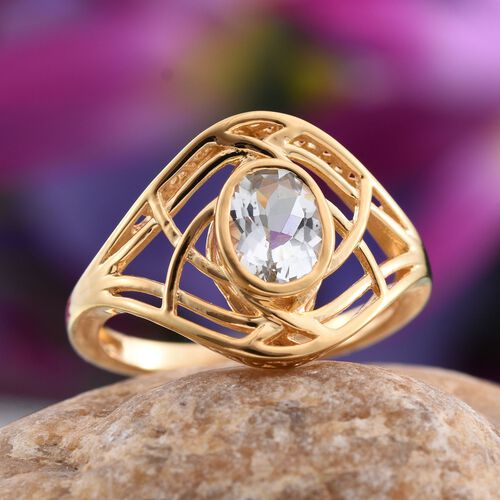 Espirito Santo Aquamarine (Ovl) Solitaire Ring in 14K Gold Overlay Sterling Silver 1.000 Ct.