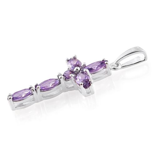 ELANZA AAA Simulated Amethyst (Mrq) Pendant in Sterling Silver