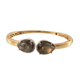 Labradorite (Pear), Diamond Bangle (Size 7.5) in 14K Gold Overlay Sterling Silver 22.500 Ct.