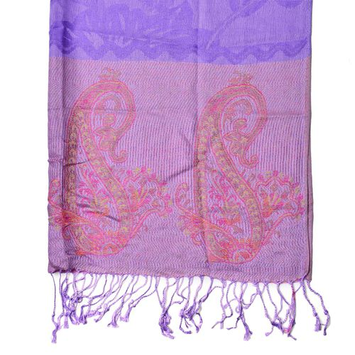 Pink and Multi Colour Floral and Paisley Pattern Purple Colour Scarf with Fringes (Size 170x68 Cm)