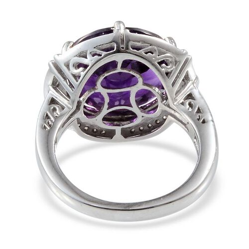 Lusaka Amethyst (Rnd 7.50 Ct), Diamond Ring in Platinum Overlay Sterling Silver 7.700 Ct.