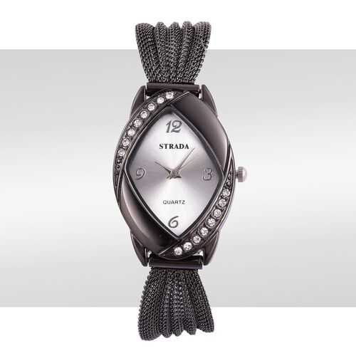 STRADA Japanese Movement Sunshine Dial Watch with White Austrian Crystal in Black Tone