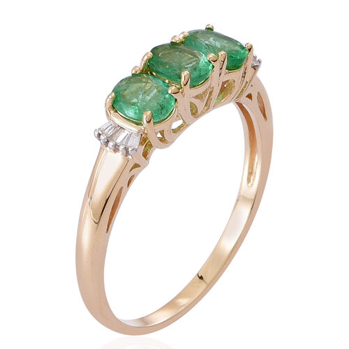 9K Yellow Gold Kagem Zambian Emerald (Ovl), Diamond Ring 1.500 Ct.