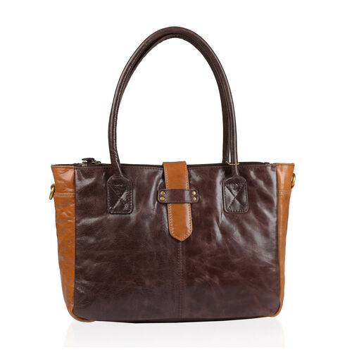 Premium Collection 100% Genuine Leather RFID Blocker Chocolate and Multi Colour Tote Bag with External Zipper Pockets and Adjustable Shoulder Strap (Size 41X25X4 Cm)