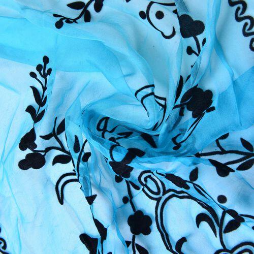 100% Mulberry Silk Black Colour Velvet Floral Pattern Blue Colour Scarf (Size 170X50 Cm)