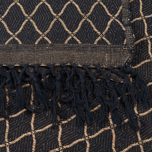100% Cotton Hand-Woven Beige and Black Colour Geometric Pattern Jacquard Bedcover with Fringes (Size 270x220 Cm)