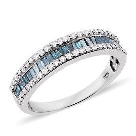 Blue Diamond (Bgt) Half Eternity Band Ring in Platinum Overlay Sterling Silver 1.000 Ct.