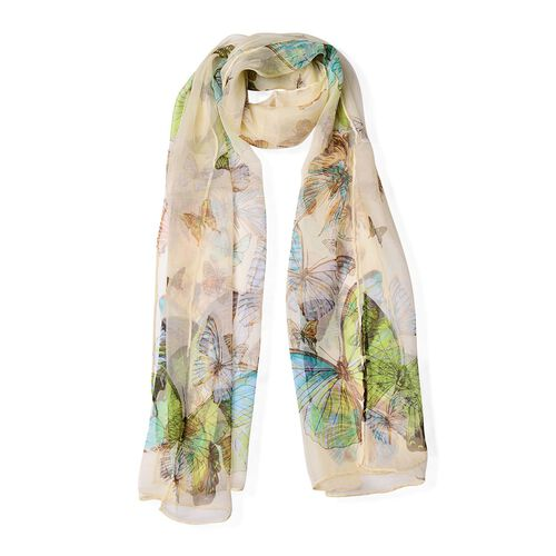 100% Mulberry Silk Blue, Brown and Multi Colour Butterfly Pattern Off White Colour Scarf (Size 170x50 Cm)