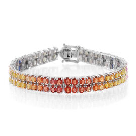 Buyer Special Deal - AA Multi Sapphire (Ovl), White Zircon Bracelet (Size 7.5) in Rhodium Plated Sterling Silver 20.500 Ct.