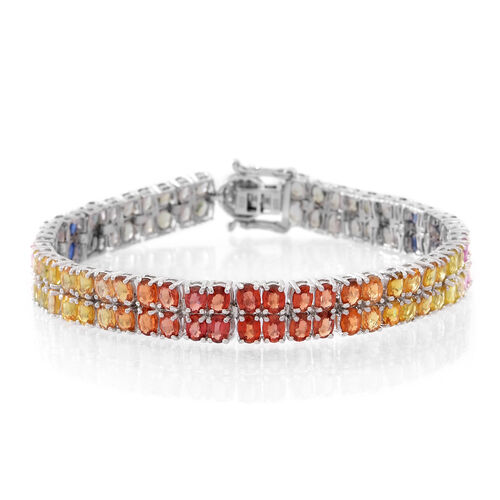 AAA Rainbow Sapphire (Ovl), Natural Cambodian Zircon Bracelet (Size 7.5) in Rhodium Plated Sterling Silver 20.500 Ct.