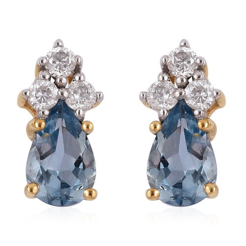 0.90 Ct AA Santa Maria Aquamarine and Diamond Stud Earrings in 9K Gold (with Push Back)