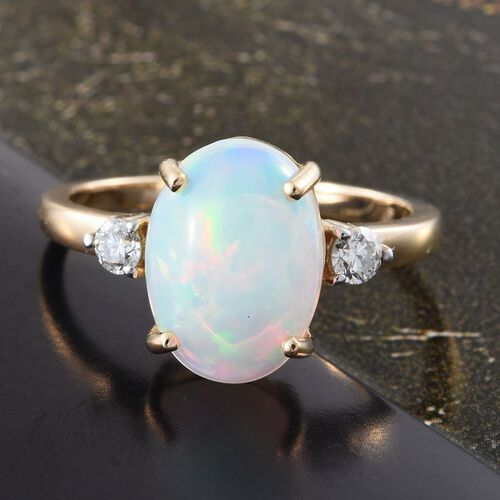 ILIANA 18K Y Gold AAA Ethiopian Welo Opal (Ovl 3.25 Ct), Diamond (SI/ G-H) Ring 3.500 Ct.