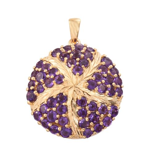 Amethyst (Rnd) Star Fish Pendant in 14K Gold Overlay Sterling Silver 3.500 Ct.