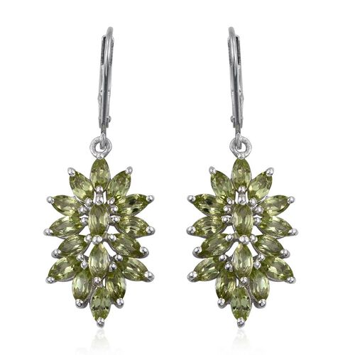 AA Hebei Peridot (Mrq) Lever Back Earrings in Platinum Overlay Sterling Silver 5.250 Ct.