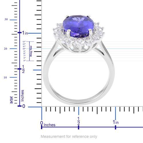 ILIANA 18K W Gold AAA Tanzanite (Ovl 5.25 Ct), Diamond (SI/G-H) Halo Ring 6.250 Ct. Gold Wt 5.40 Grams