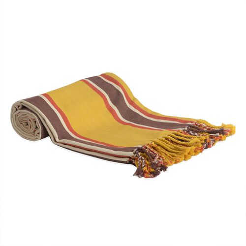 100% Cotton Red, Chocolate and White Colour Stripe Pattern Yellow Colour Plaid with Fringes (Size 240x150 Cm)