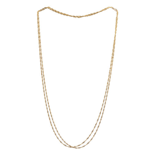 JCK Vegas Collecton 14K Gold Overlay Sterling Silver Singapore Double Strand Necklace (Size 60), Silver wt 9.20 Gms.