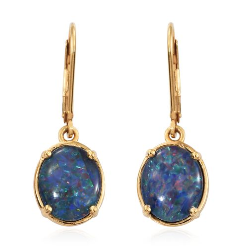 Australian Boulder Opal (Ovl) Lever Back Earrings in 14K Gold Overlay Sterling Silver 4.000 Ct.