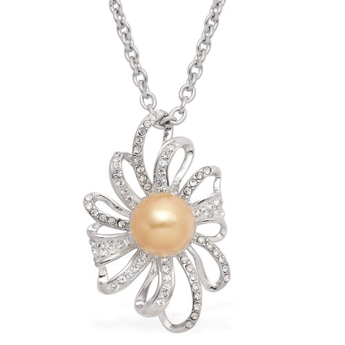 Golden Shell Pearl and White Austrian Crystal Pendant With Chain in Stainless Steel