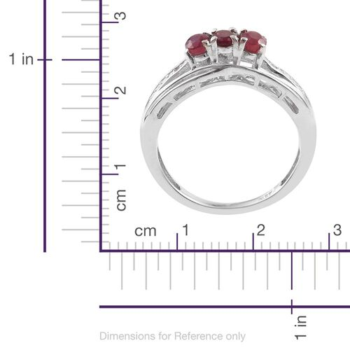 African Ruby and Diamond 0.76 Ct Silver Trilogy Ring in Platinum Overlay