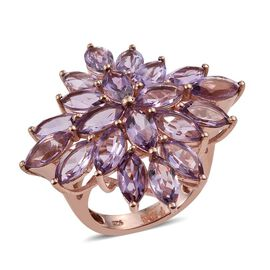 Rose De France Amethyst (Mrq) Floral Ring in Rose Gold Overlay Sterling Silver 9.500 Ct.