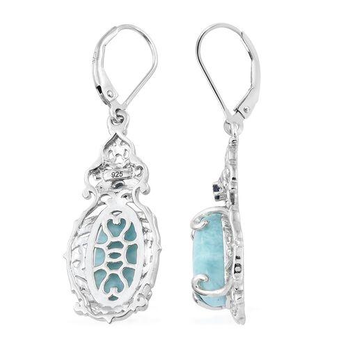 Larimar (Ovl), Kanchanaburi Blue Sapphire Lever Back Earrings in Platinum Overlay Sterling Silver 7.500 Ct. Silver wt 5.39 Gms.